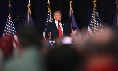 Trump faz discurso em New Hampshire Foto: SPENCER PLATT / AFP
