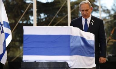 Benjamin Netanyahu dá último adeus a Shimon Peres Foto: ABIR SULTAN / AFP