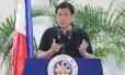 Presidente das Filipinas, Rodrigo Duterte, faz discurso no aeroporto internacional de Davao Foto: MANMAN DEJETO / AFP