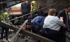 Colisão destrói parte da estação de Hoboken, em Nova Jersey Foto: PANCHO BERNASCONI / AFP