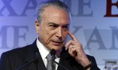 O presidente Michel Temer no Fórum da revista Exame que acontece nesta sexta-feira em São Paulo Foto: Edilson Dantas / Agência O Globo