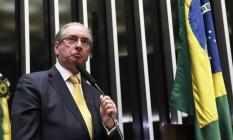 O ex-presidente da Câmara Eduardo Cunha durante a sessão que cassou seu mandato Foto: Ailton de Freitas / Agência O Globo / Arquivo / 12/09/2016