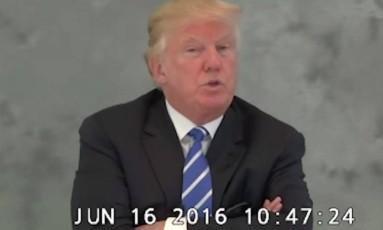 Trump presta depoimento em vídeo divulgado Foto: Reprodução