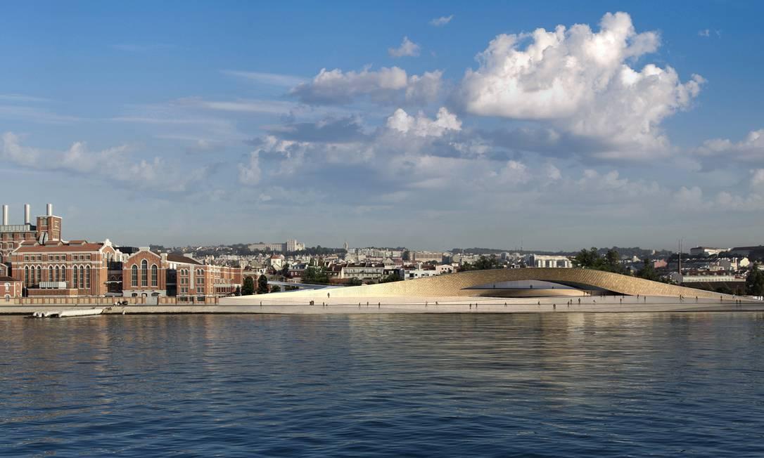 O prédio do novo Museu de Arte, Arquitetura e Tecnologia (Maat), ao lado do Museu da Eletricidade, em Lisboa Foto: Divulgação / AL_A