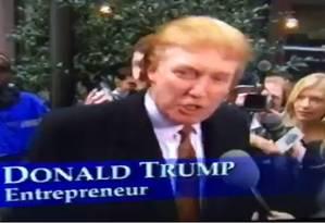 Donald Trump aparece em vídeo dando boas vindas às modelos da Playboy em Nova York Foto: REPRODUÇÃO