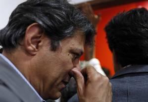 O prefeito Fernando Haddad ( PT ) fala depois da derrota no primeiro turno para João Doria ( PSDB ) Foto: Agencia O Globo / Edilson Dantas