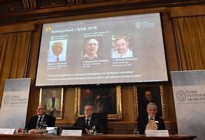 A Fundação Nobel anunciou nesta terça-feira os vencedores do Prêmio Nobel de Física Foto: JONATHAN NACKSTRAND / AFP