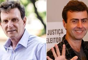 Marcelo Crivella e Marcelo Freixo (PSOL) disputarão o segundo no Rio de Janeiro Foto: Editoria de Arte