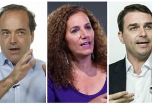 Carlos Osorio, Jandira Feghali e Flávio Bolsonaro Foto: Fotomontagem