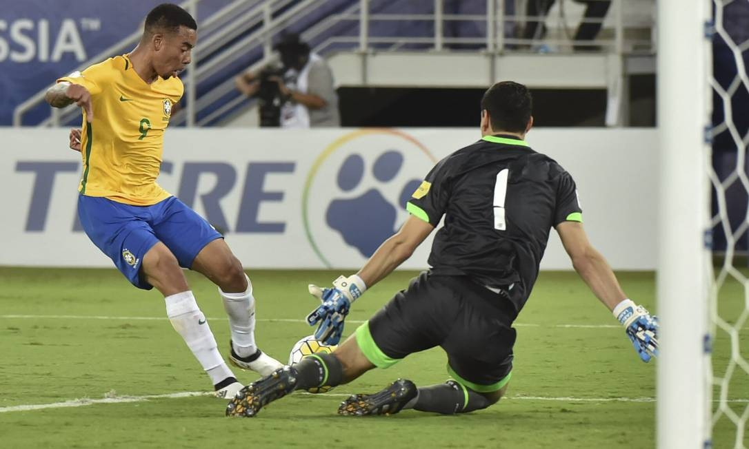 Com um toque de categoria na saída de Lampe, Gabriel Jesus foi o autor do quarto gol NELSON ALMEIDA / AFP