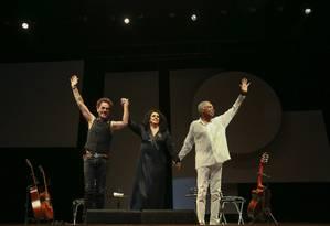 Show com Gilberto Gil, Gal Gosta e Nando Reis em homenagem aos 100 anos de Ulysses Guimarães, no teatro que leva seu nome, em Brasília Foto: André Coelho / Agência O Globo