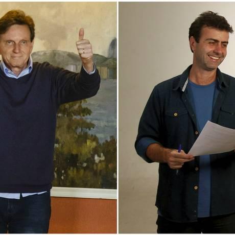 O candidatos Marcelo Crivella (PRB) e Marcelo Freixo (PSOL) Foto: Fotomontagem/ O Globo