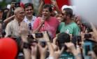 O prefeito de São Paulo Fernando haddad em ato de agradecimento na Paulista Foto: Pedro Kirilos / Agência O Globo