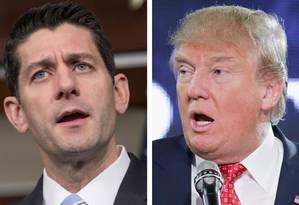 Ryan e Trump: farpas em alta Foto: Montagem