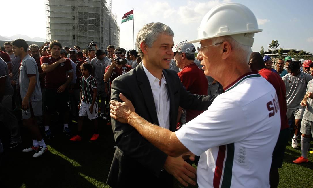 O presidente tricolor, Peter Siemsen, e Pedro Antônio Ribeiro, vice-presidente de projetos especiais do Fluminense Nelson Perez/Divulgação Fluminense
