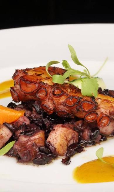 No Paris Gastrô, o polvo grelhado com risoto de arroz negro é uma das opções para os comensais (R$ 80) Jose Renato Antunes / Divulgação