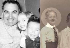 Muito antes da disputa presidencial: Hillary (ao centro, na foto da esquerda) e Trump (destacado) são fotografados com a família no início dos anos 1950. Ela nasceu em uma família de classe média do Illinois, e ele cresceu em Manhattan, sob o império econômico fundado pelo pai, Fred Foto: Montagem - Editoria de Arte / Acervos pessoais