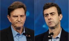 Marcelo Crivella (PRB) e Marcelo Freixo (Psol) disputam o segundo turno para a prefeitura do Rio Foto: AFP