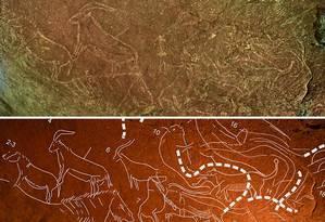 A foto de cima mostra os desenhos pré-históricos. Na imagem de baixo, os contornos foram reforçados para melhor visualização de animais como bisões, cavalos e leões Foto: HO / AFP