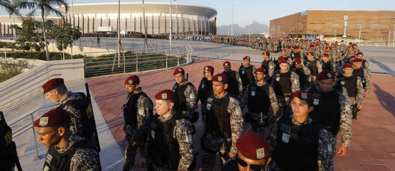 Militares da Força Nacional no Parque Olímpico em 22/07/2016 Foto: Domingos Peixoto / Agência O Globo