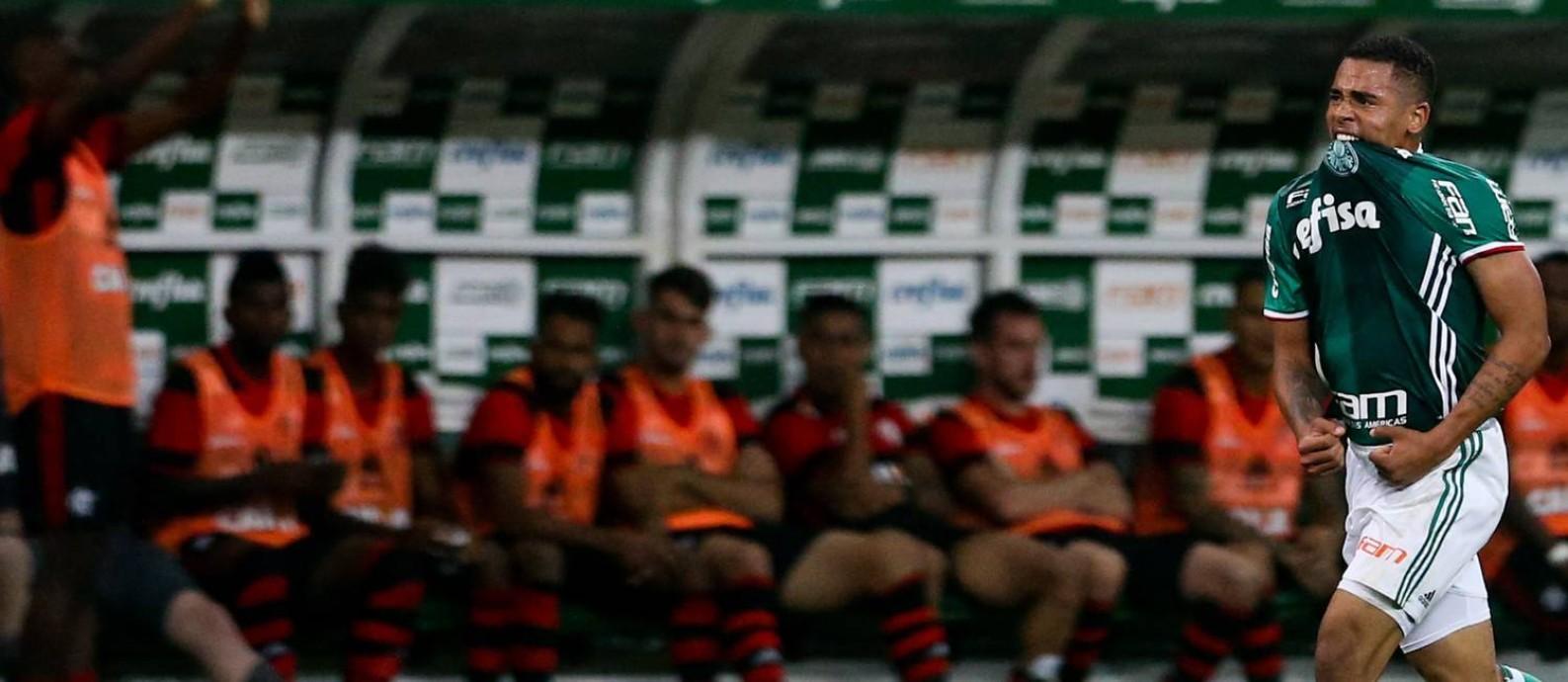O Palmeiras, do artilheiro Gabriel Jesus, lidera o Campeonato Brasileiro e tem presença praticamente certa na Libertadores de 2017 Foto: Pedro Kirilos / Agência O Globo
