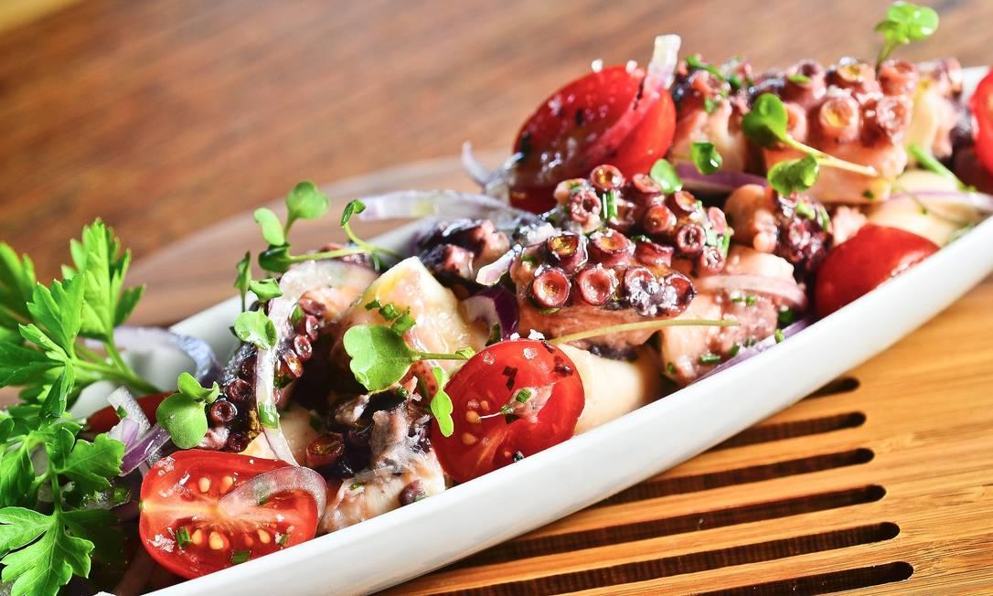 O polvo em vinagrete é uma das opções do restaurante Mauá (R$38) Sérgio Pagano / Divulgação