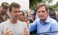 Freixo e Crivella em atos de campanha no Rio