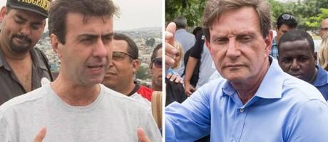 Freixo e Crivella em atos de campanha no Rio Foto: Arte / O Globo