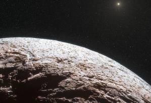Ilustração mostra como seria o Sol visto de um corpo localizado no Cinturão de Kuiper Foto: European Southern Observatory