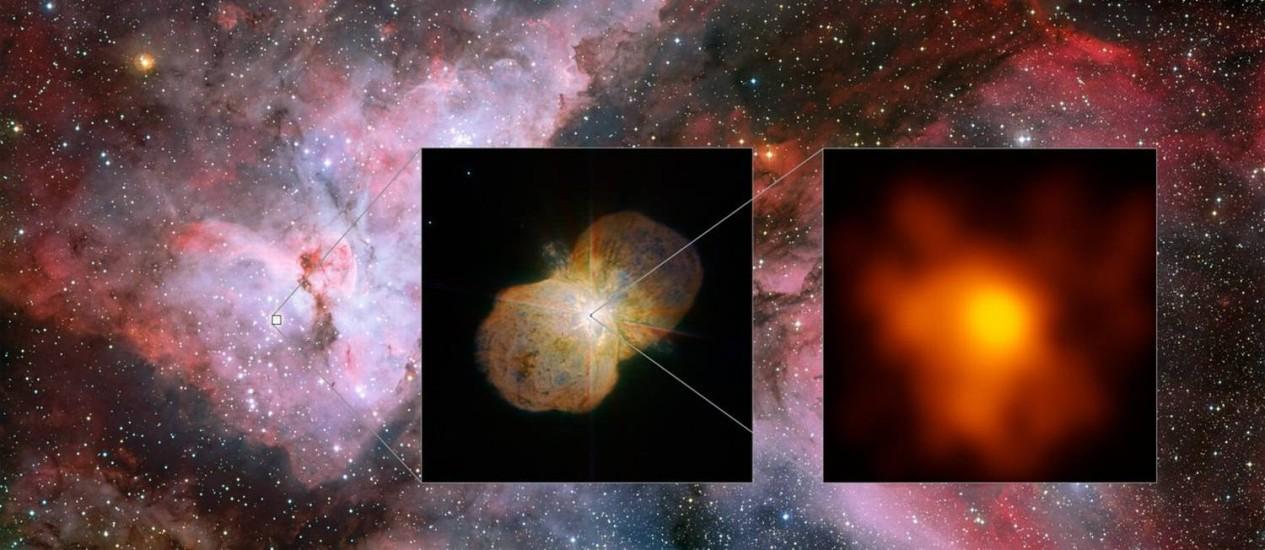 Mosaico mostra a Nebulosa de Carina (esquerda), onde está localizado o sistema binário Eta Carinae (centro), com suas duas estrelas supermaciças escondidas sob grande nuvem de material em forma de halteres expelida em erupção no século XIX: o par pode se Foto: ESO/G. Weigelt