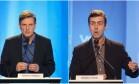 Marcelo Crivella (PRB) e Marcelo Freixo (PSOL) no debate da Rede TV Foto: Antonio Scorza / Agência O Globo