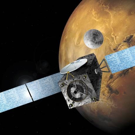 Módulo de 2,4 metros de diâmetro e 577 kg entrou na atmosfera marciana a uma velocidade de 21 mil quilômetros por hora Foto: STRINGER / REUTERS