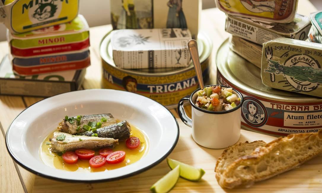 As conservas portuguesas de sardinha, cavala e atum são destaque na casa, que também tem shows às quartas-feiras Fabio Seixo / Agência O Globo