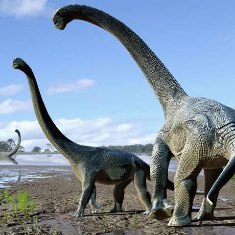 Ilustração do gigante Savannasaurus elliottorum, que pode ter evoluído na Austrália a partir de espécies migradas da América do Sul Foto: TRAVIS TISCHLER / AFP
