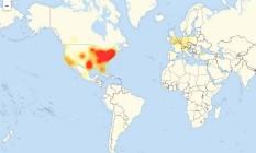 Mapa mostra mapa de calor sobre relatos de queda de serviços da Level 3 nesta sexta-feira Foto: REPRODUÇÃO/LEVEL 3