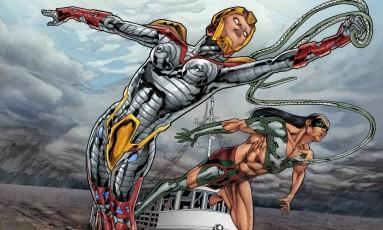 Aruã e Jiboia Branca, heróis do Esquadrão Amazônia, de Joe Bennett e Alan Yango, que será lançado em dezembro no Comic Con Experience Foto: Agência O GLOBO / Reprodução