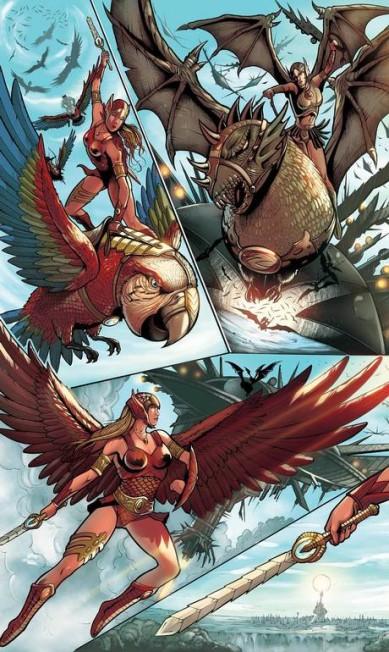 Mulher-Arara, personagem dos Titãs da Amazônia, liga criada por Brandon Lee Divulgação / Agência O GLOBO