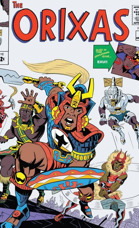 """O quadrinista Hugo Canuto recriou de uma clássica capa dos """"Vingadores"""" substituindo os heróis por orixás Foto: Divulgação / Agência O GLOBO"""