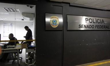 Polícia Legislativa do Senado Federal: quatro agentes foram presos, nesta sexta-feira, pela Polícia Federal Foto: Arquivo / 21/10/2016 / Givaldo Barbosa / Agência O Globo
