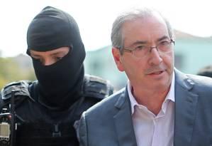 O ex-presidente da Câmara Eduardo Cunha foi preso pela Operação Lava-Jato Foto: Heuler Andrey / AFP / Arquivo / 20/10/2016
