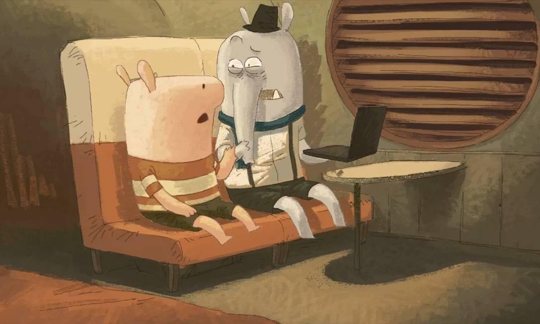 Na animação 'Ida à cidade Ele', um porquinho é rejeitado por elefantes Foto: Divulgação
