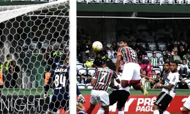 Gum cabeceia para abrir o placar para o Fluminense contra o Coritiba, no Couto Pereira Foto: Mailson Santana - Fluminense