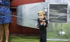 Baby Trump. Hunter Tripak, de 2 anos, durante comício do republicano Foto: Jessica Kourkounis / Jessica Kourkounis/AFP