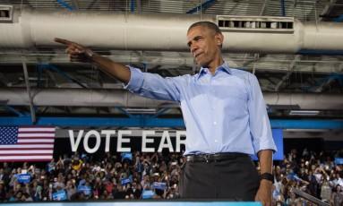 O presidente Barack Obama durante evento de campanha em Las Vegas Foto: NICHOLAS KAMM / AFP
