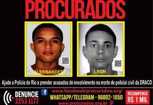 Suspeitos de envolvimento na morte de policial Foto: Divulgação