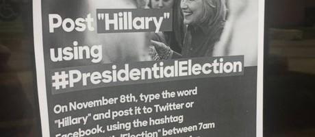 Folheto sugere voto online em Hillary em universidade americana Foto: Reprodução/Poughkeepsie Journal