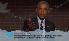 Presidente Barack Obama participa do programa Jimmy Kimmel, na ABC Foto: Reprodução/YouTube