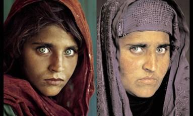 Os expressivos olhos verdes de Sharbat Gula foram registrados duas vezes, em um espaço de 17 anos, pelo fotógrafo Steve McCurry Foto: Steve McCurry / Reuters