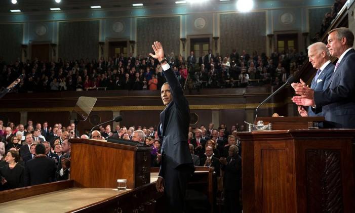 Obama faz seu discurso de Estado da União diante de uma sessão conjunta do Congresso, em janeiro de 2015 Foto: Pete Souza / The White House