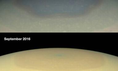 Imagens mostram a mudança de cor do polo norte de Saturno Foto: Divulgação/ Nasa
